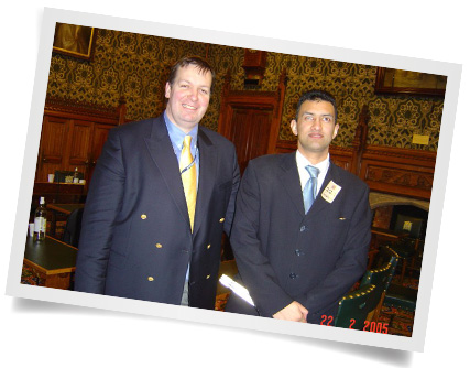 Pervez at the house of Lords with Scott Westbrook, chair of the national disabled police association