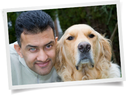Pervez with his guide dog Grant