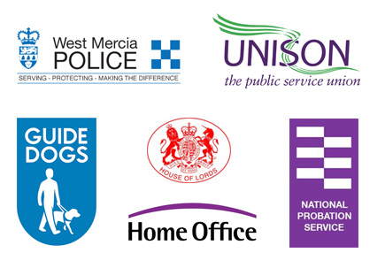 Logos of organisations with which Pervez is or has been affiliated including Unison, West Mercia Police, Guide Dogs and the National Probation Service